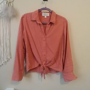 Tencel cropped tied button down blouse